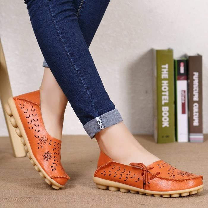 Women' S Leather Loafers Casual Moccasin Driving Outdoor Shoes Indoor Flat Slip-on Slippers UGHEW Taille-36 1-2