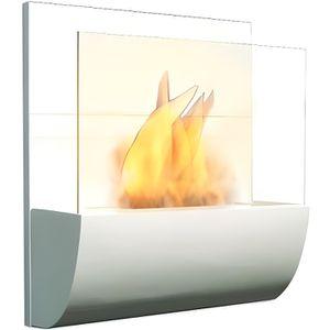 POÊLE À PÉTROLE Cheminée Bio éthanol Murale Blanche avec pare-feu
