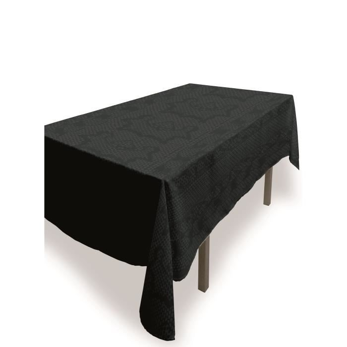 SOLEIL D'OCRE Nappe rectangle anti-tâches Snake - 140 x 240 cm - Anthracite
