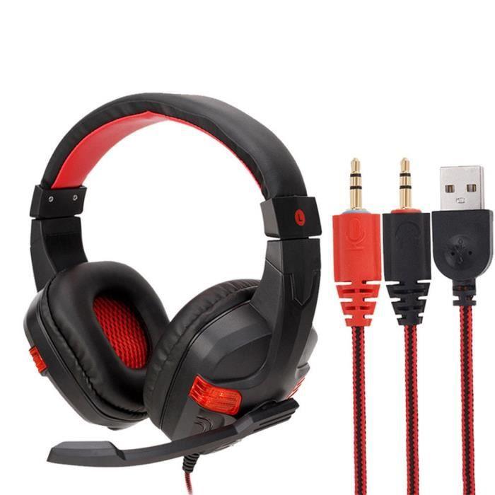 Filaire Usb Led 3,5 Mm Gaming Headset Casque Avec Micro Pour Pc Portable Téléphone Ej441