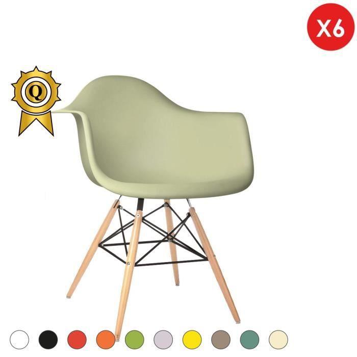 DAW Design Retro Charles 6 Pieds Mobistyl® en x Ivoire Bois Naturel Style 48cm Eames Fauteuil hauteur k8OPwn0