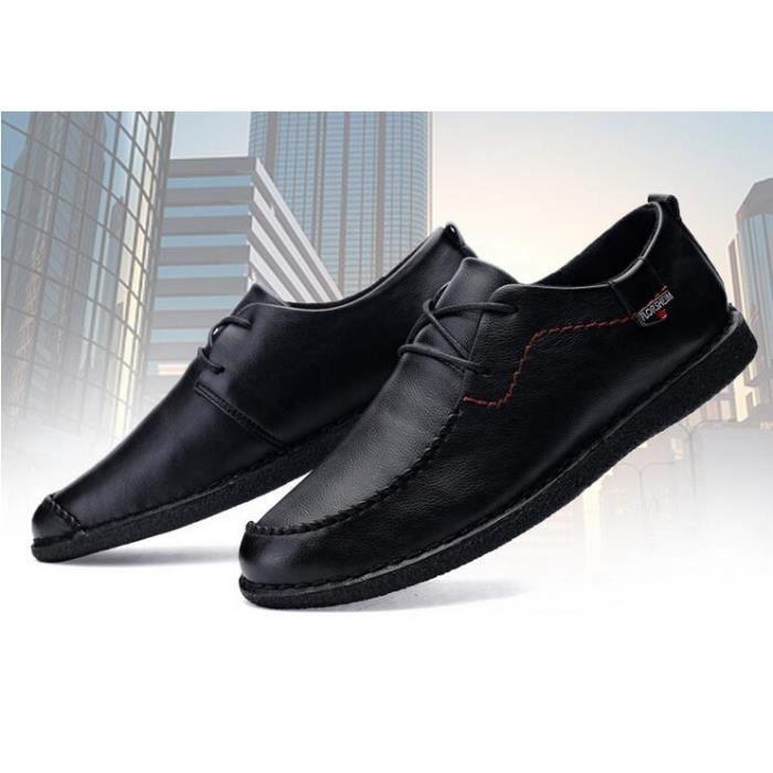 4bc475d54d9179 Homme cuir mocassin chaussures business formel noir Noir TU - Achat ...