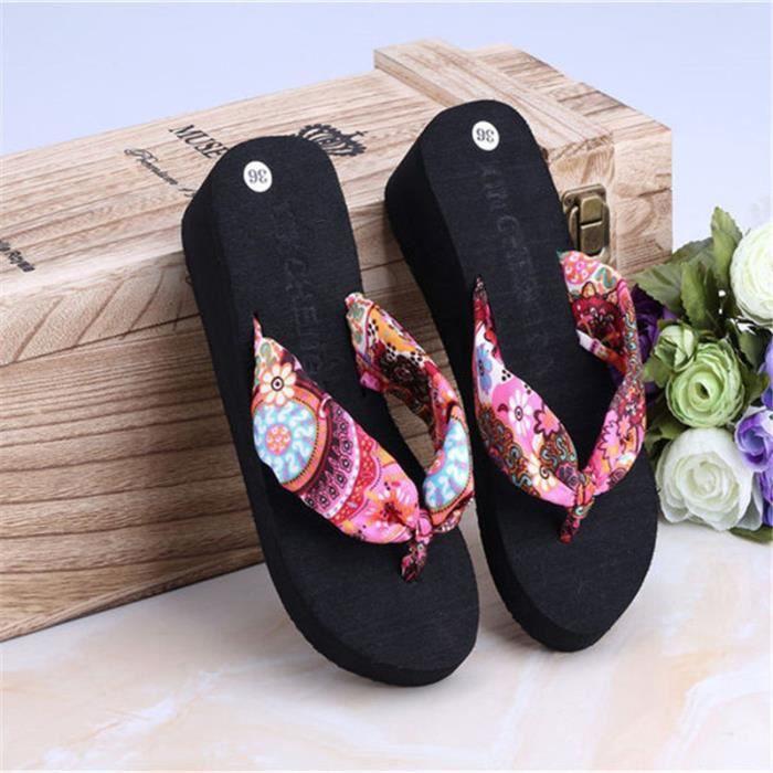 femmes sandales pantoufle été hauteur croissante femmes d'été 2017 sandale Plus Taille wDUoXG