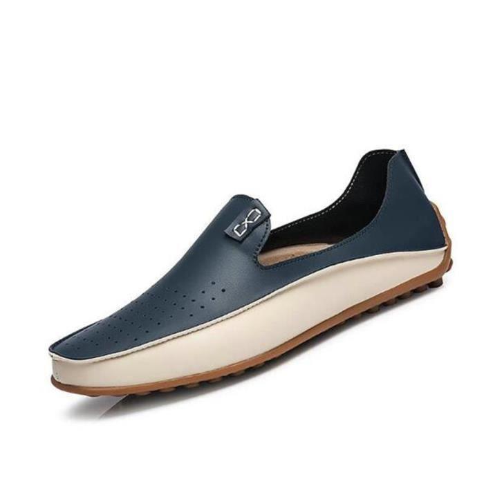homme Moccasins En Cuir De Marque De Luxe Chaussures Nouvelle Mode Confortable Grande Taille Super Loafer Plus De Couleur bleu BPPbnGn