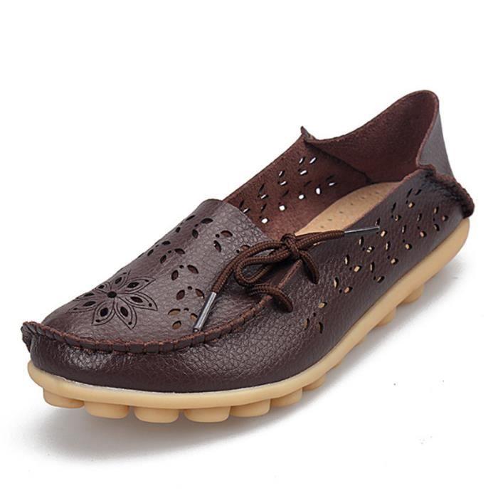Moccasin femme Poids Léger Antidérapant Durable Luxe Chaussures Respirant Creux-sculpté Bowknot Classique Grande Taille