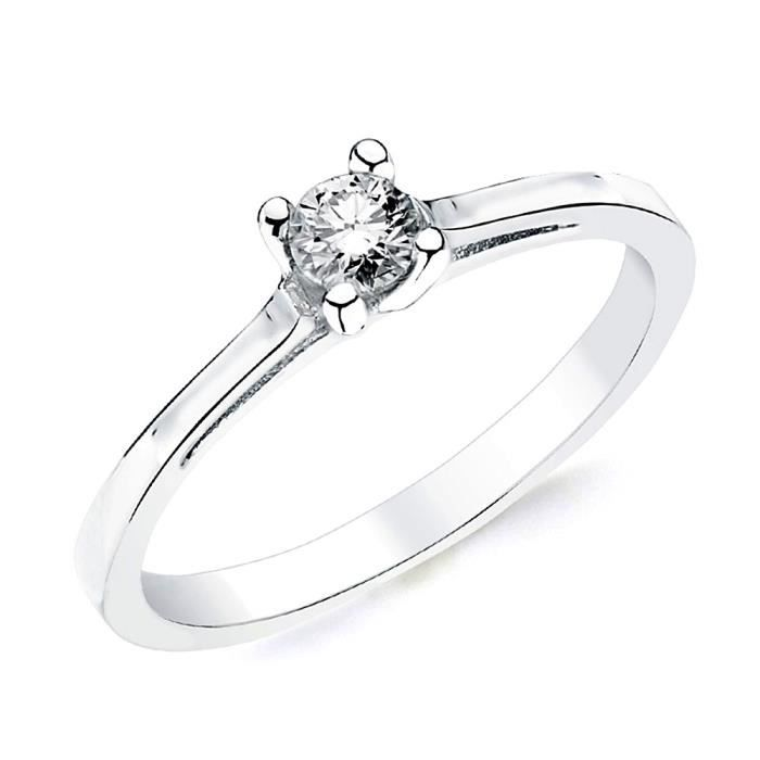 Bague solitaire Or blanc 18 0,200ct 1 diamant brillant. [AB2828] - Taille: 57