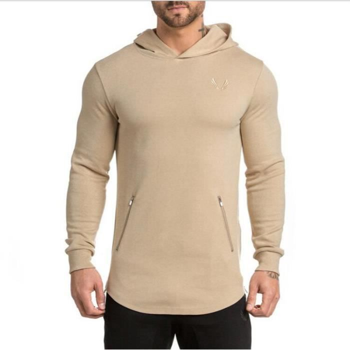 Capuche À Musculation Homme De Sport Marque Luxe Sweat Fine Shirt FUpEWw05pq