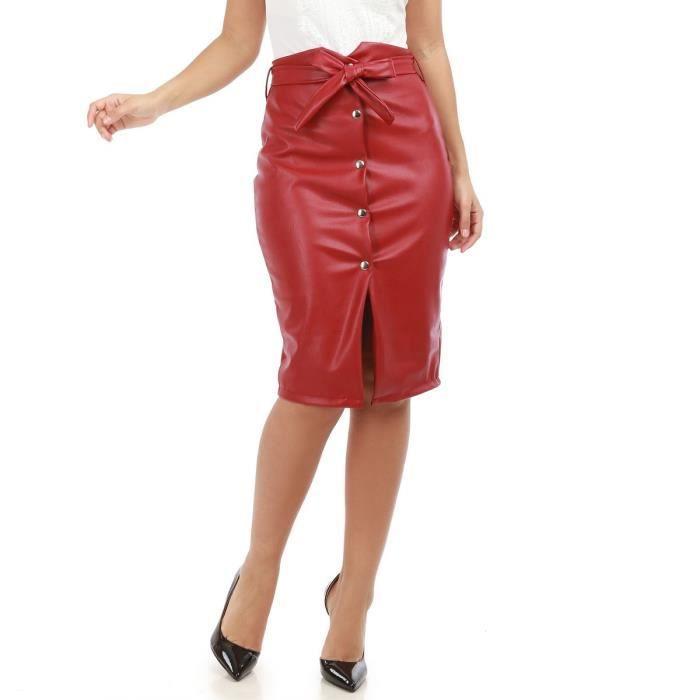 3d8b5a88268df7 Jupe bordeaux en simili cuir taille haute avec ceinture-S Rouge ...