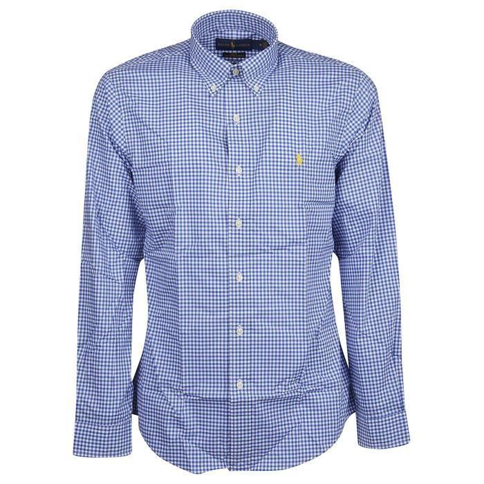 Chemise Ralph Lauren vichy bleu pour homme