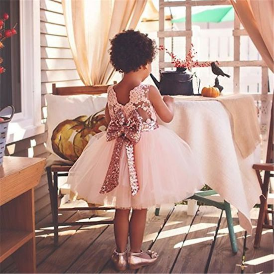 e8c3702a2ed WAIWAIZUI Bébé Fille Robe de Baptême Robe Demoiselle Enfant Jupe Noeud  Papillon au Dos Robe Cérémonie Filles Rose Rose - Achat   Vente robe de  cérémonie - ...