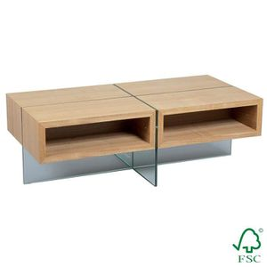 TABLE BASSE Ceniza - Table Basse Rectangulaire 4 Niches Marron