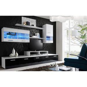 MEUBLE TV MURAL Ensemble meuble TV LOGA noir et blanc de haute bri
