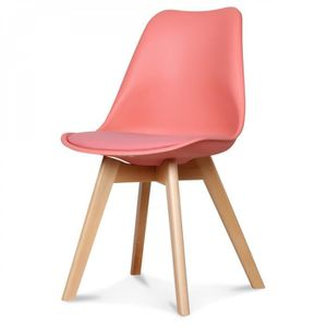 CHAISE Lot 2 chaises scandinaves corail Sorbet
