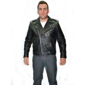 BLOUSON - VESTE BLOUSON NOIR MOTO BIKER Cuir HOMME PERFECTO XXXL b343b17f41c