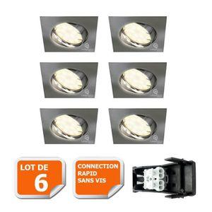 SPOTS - LIGNE DE SPOTS LOT DE 6 SPOT ENCASTRABLE ORIENTABLE LED CARRE ALU