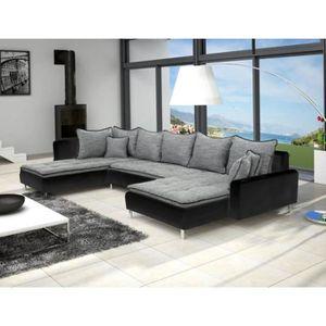 CANAPÉ - SOFA - DIVAN Canapé en U panoramique DANTE gris et noir design