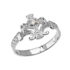 BAGUE - ANNEAU Bague Femme 10 Ct Or Blanc Solitaire Diamant Celti