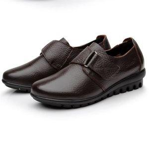 Chaussures Femme Printemps Été Comfortable Cuir Chaussure ZX-XZ063Marron38 i5jZLwNu8