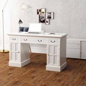 BUREAU  Bureau à double piédestal Table de Bureau Blanc 14