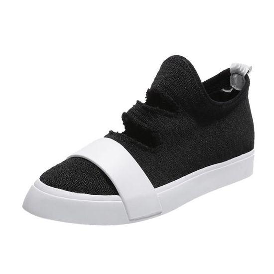Mode Femmes Chaussures en tissu extensible bout pointu plat Slip talon Chaussures Casual  Noir_XSC*2864 Noir Noir - Achat / Vente slip-on