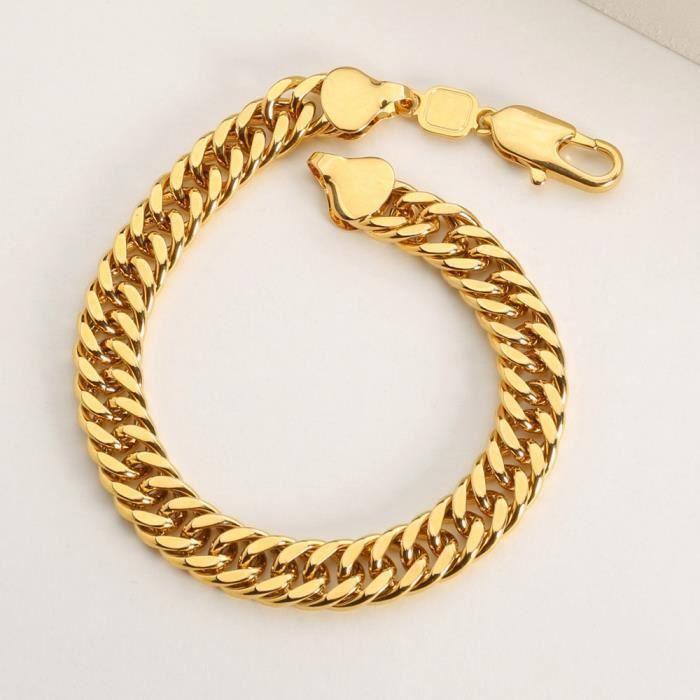 photos officielles efa79 5cc90 lourd bracelet plaqué or 24k jaune chaîne hommes bracelet 9 pouces, 10mm