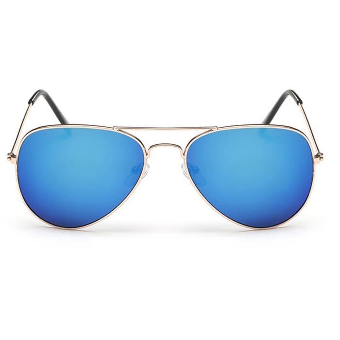 57f51c915713f8 2PCS UV400 Lunettes de soleil unisexe aviateur pilote Élégant Vintage Cadre  or bleu mercure