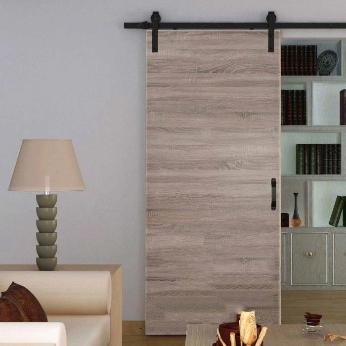 porte int rieure coulissante 90 x 206 cm bois ch ne rail. Black Bedroom Furniture Sets. Home Design Ideas