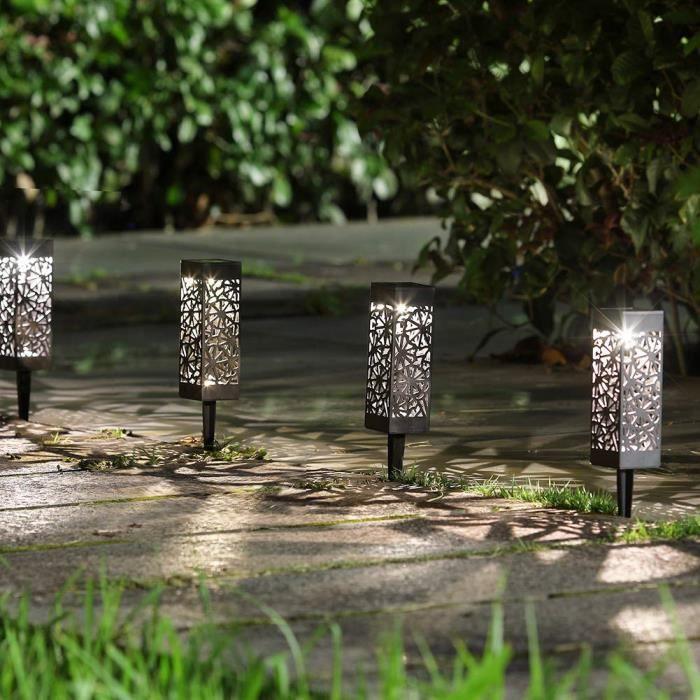 8pcs Lampe solaire exterieur de jardin, Borne solaire jardin, Borne ...