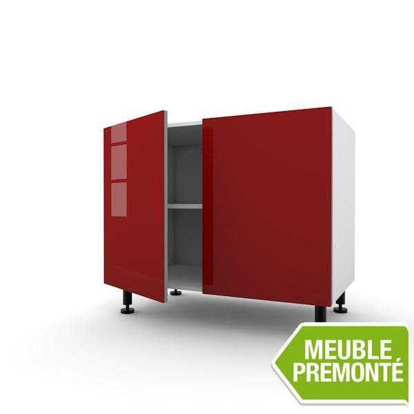 elements bas meuble bas 80cm 2 portes 70x40 cristal rouge