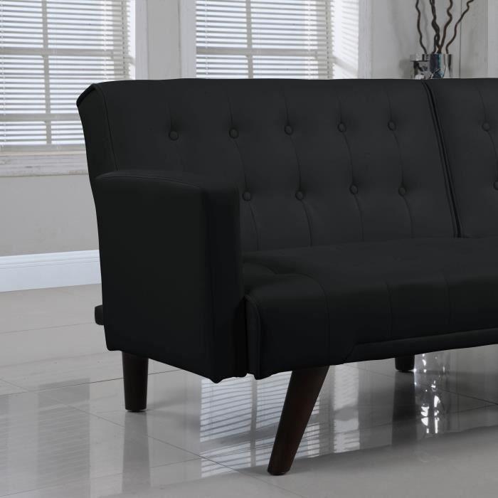 affordable clara canap clicclac simili cuir design capitonn coloris diffrents xx cm noir with. Black Bedroom Furniture Sets. Home Design Ideas