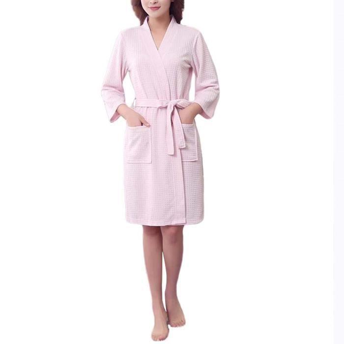 4a1ddac3a4bfc Peignoir de Bain Femme Homme Robe de SPA-Chambre en Coton Sortie de Bain  Vêtement de Nuit Léger pour Printemps et Eté 3XL-Rose