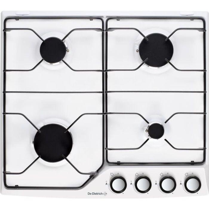 de dietrich - table de cuisson gaz émail 4 feux blanc - dpe7610w