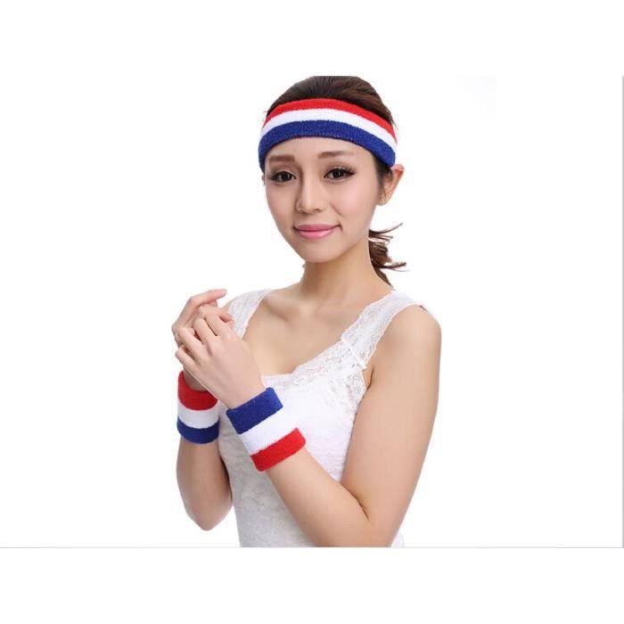 Gosear® France Drapeau élastique Bande de tête poignets bandeau Sport Football Coupe de Europe 2016 turban de yoga