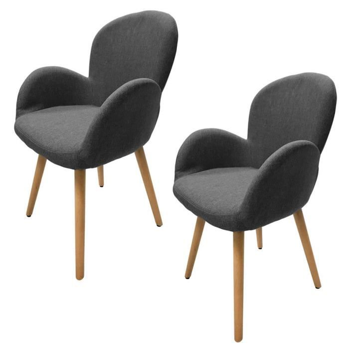 mctech lot de 2 chaises de salle manger fauteuil design scandinave gris fonc cy195g. Black Bedroom Furniture Sets. Home Design Ideas