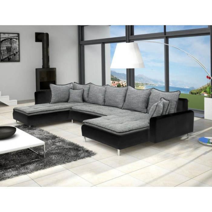 Canape En U Panoramique Dante Gris Et Noir Design Achat Vente