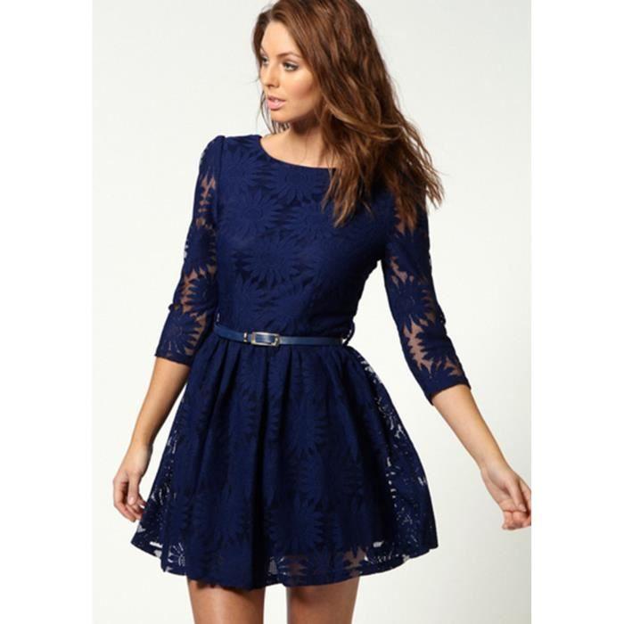 2b7036db2be Robe courte-élégante-dentelle-ciselée-manches 7 10-femme bleu foncé ...