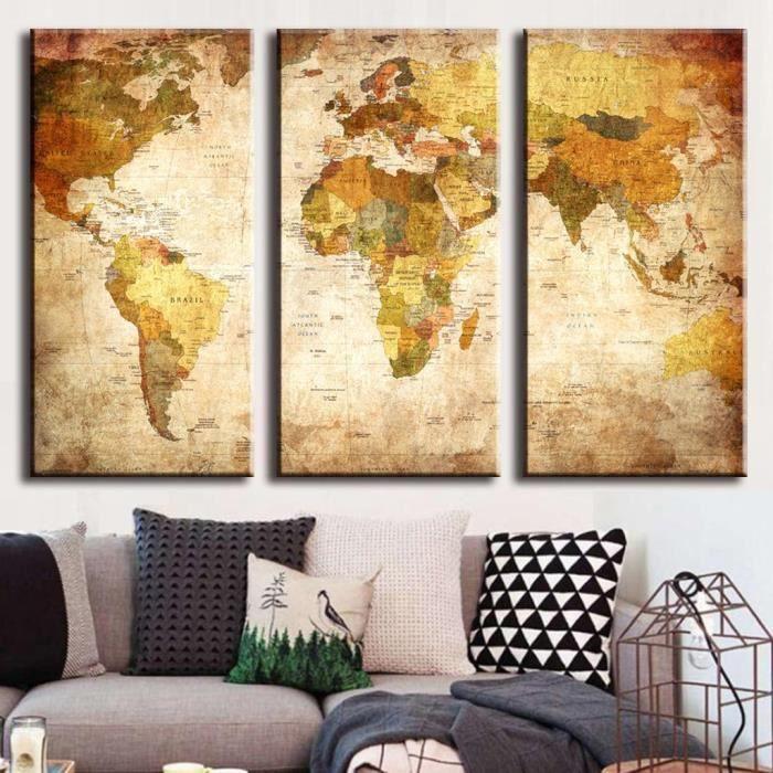 3pcs r tro peinture murale carte du monde tableau toile. Black Bedroom Furniture Sets. Home Design Ideas