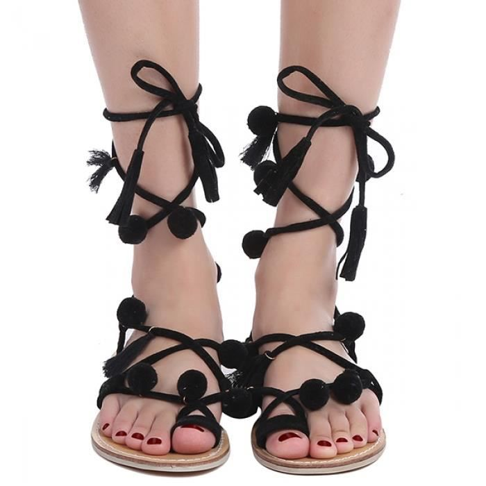 Sandales décorées à talon plat et gladiateur VCyRcS8BUV