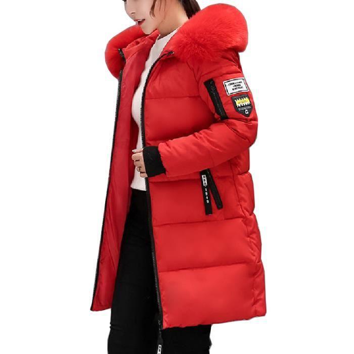 Noir Doudoune Capuche Flavor longue rouge Slim Mi Simple Avec Chaud Épaisse Femme Coton En Fourrure xpCBxg