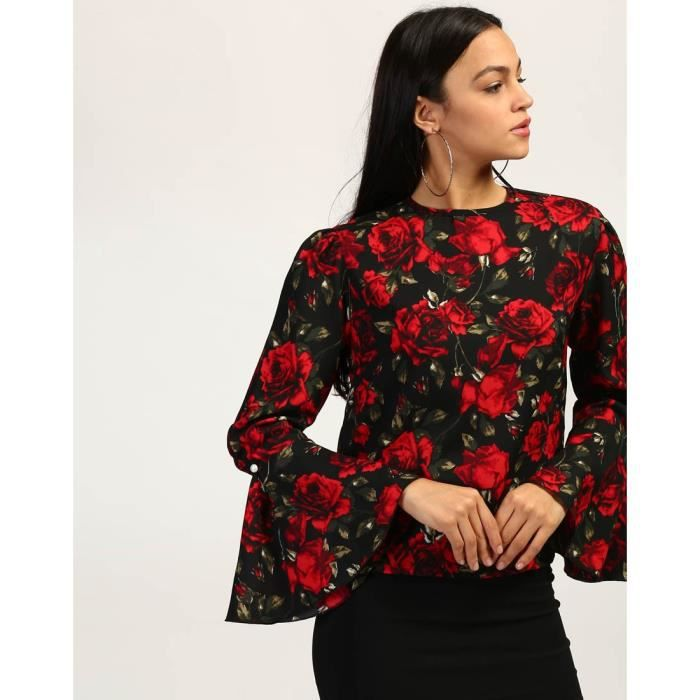 Trendtwo Floral Kelly Bell manches Top Floral Ruffle Georgette Casual Top Women KRDHL