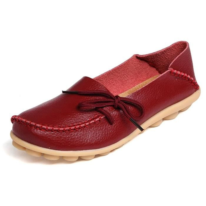 Lace Up Casual Slip Ons Penny en cuir Mocassins Mocassins Ballerines Chaussures TEO3E Taille-41