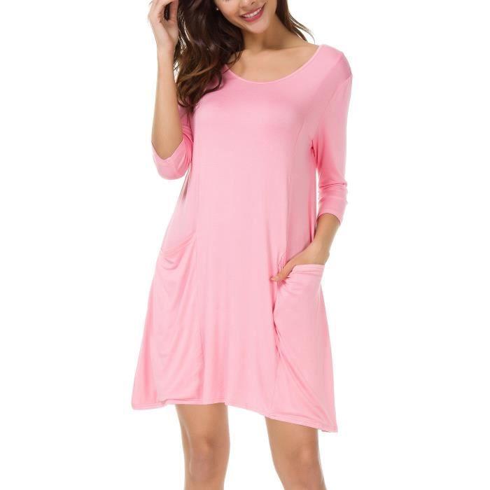 Femme manches 3-4 T-shirt Robe de poche Casual Maj de robe 2CFLOX Taille-34