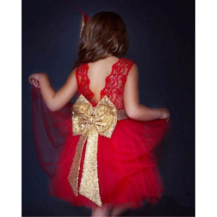 c8991e278c4 WAIWAIZUI Bébé Fille Robe de Baptême Robe Demoiselle Enfant Jupe Noeud  Papillon au Dos Robe Cérémonie Filles