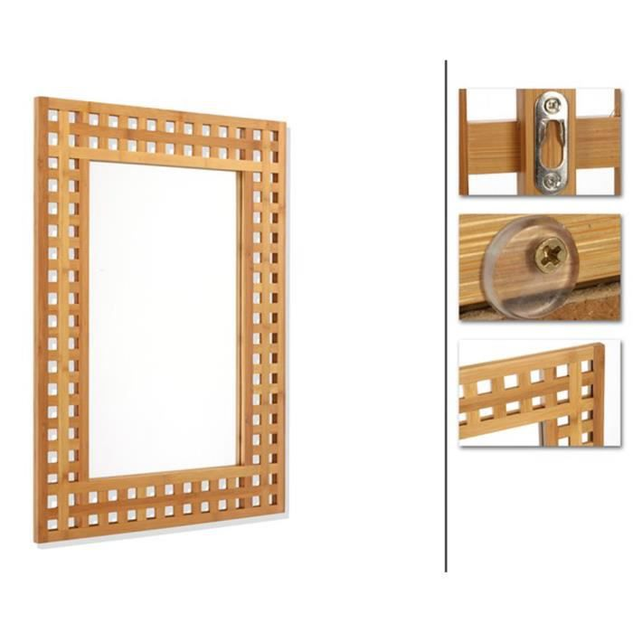 Miroirs bambou achat vente pas cher for Miroir grossissant 50