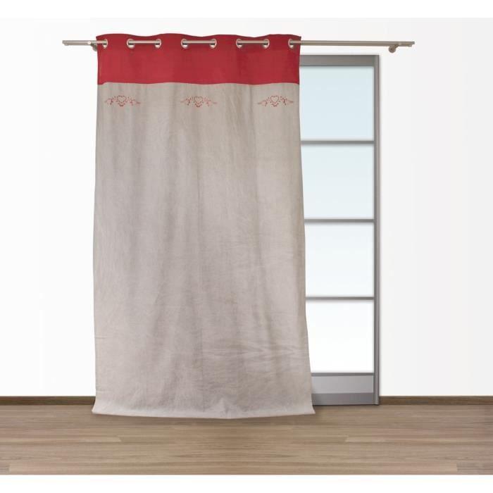 SOLEIL D\'OCRE Rideau à œillets Annecy 140x250 cm taupe et rouge ...