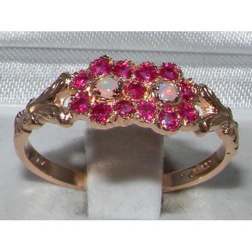 Bague pour Femme en Or rose 9 carats 375-1000 sertie d Opale Rubis- Tailles 50 à 64
