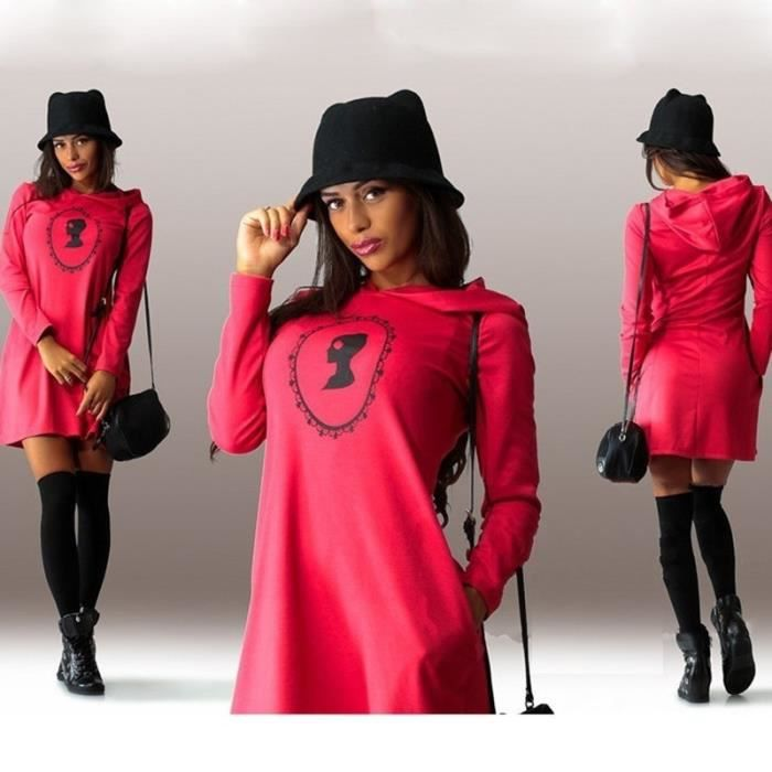 Demeuble-4408 Casual Femmes manches longues Sweats à capuche capuche Robe sexy Sweat-shirt Automne Hiver casaque