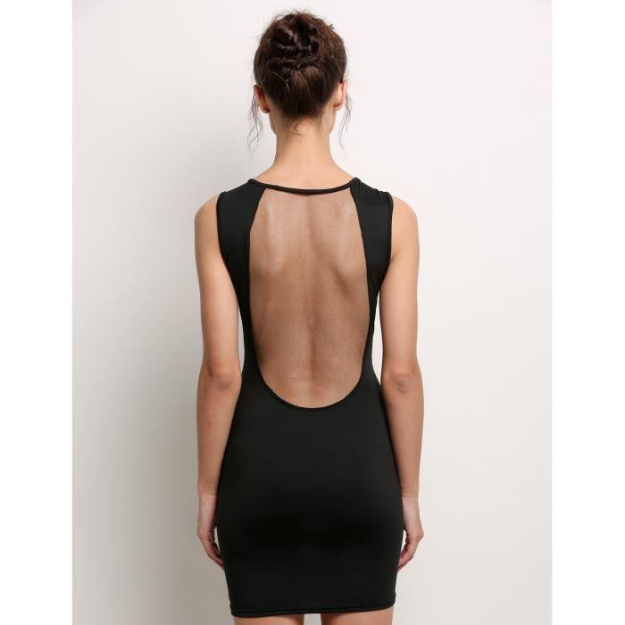 Robe femmes mini robe Sexy de soirée sans manches O-cou