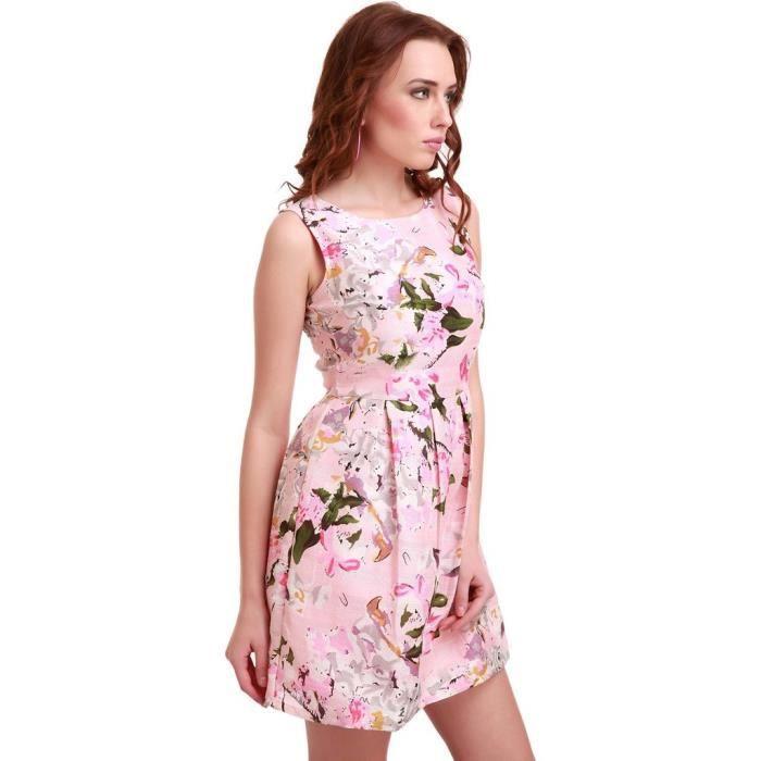 Womens Pink Floral Silk Skater Dress 1VNVKY Taille-34