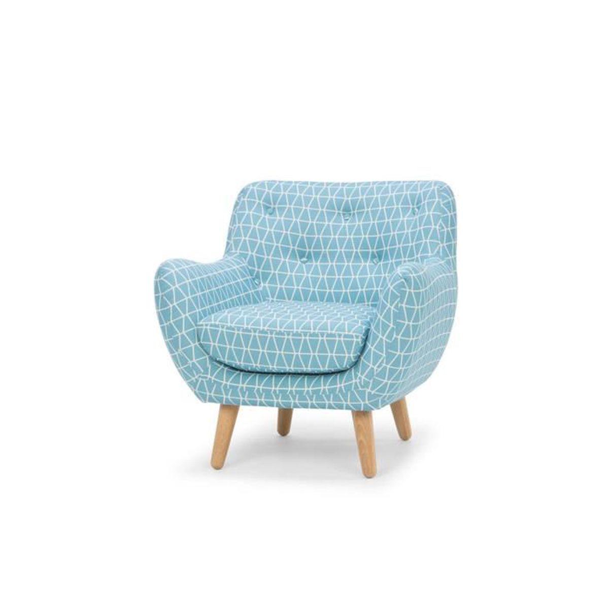 Poppy Meuble Fauteuil Esprit Scandinave à Motifs Bleus Achat - Meuble fauteuil